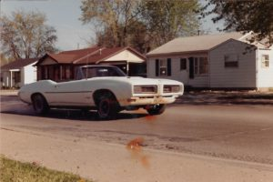 1968 Pontiac GTO convertible roasting tires